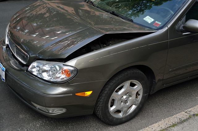 Car with bent hood